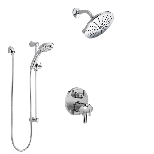 Delta Trinsic Chrome Finish Shower System with Dual Thermostatic Control Handle, Integrated Diverter, Showerhead, and Temp2O Hand Shower SS27T8599