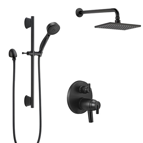 Delta Trinsic Matte Black Finish Wall Mount Rain Showerhead and Slide Bar Hand Sprayer Thermostatic Shower System with Integrated Diverter SS27T859BL4