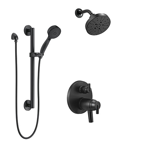 Delta Trinsic Matte Black Finish 17T Shower System with Multi-Setting Wall Showerhead, Hand Shower with Grab Bar, and Integrated Diverter SS27T859BL5