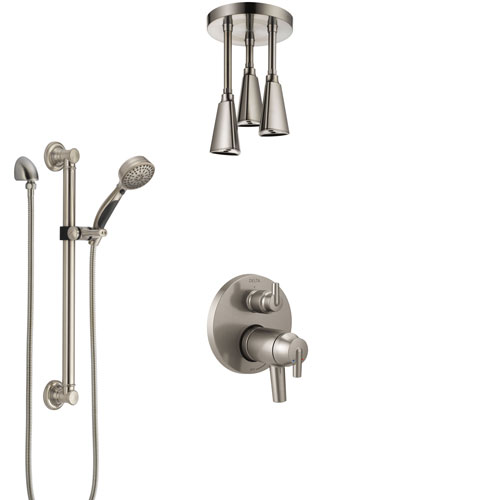 Delta Trinsic Dual Thermostatic Control Stainless Steel Finish Integrated Diverter Shower System, Ceiling Showerhead, Grab Bar Hand Spray SS27T859SS12