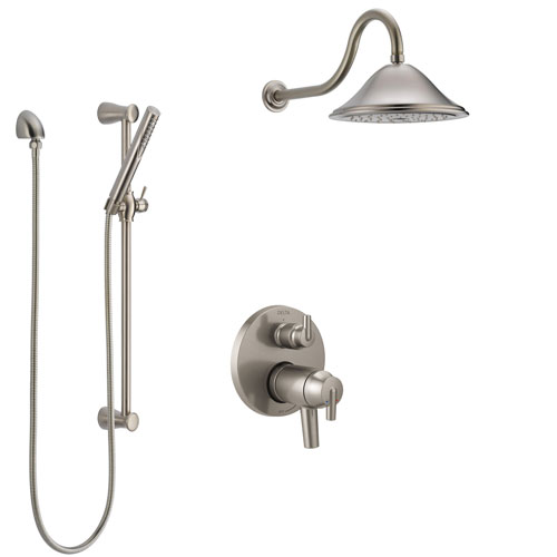 Delta Trinsic Dual Thermostatic Control Handle Stainless Steel Finish Shower System, Integrated Diverter, Showerhead, and Hand Shower SS27T859SS3