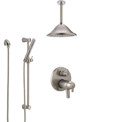 Delta Trinsic Dual Thermostatic Control Stainless Steel Finish Integrated Diverter Shower System, Ceiling Mount Showerhead and Hand Shower SS27T859SS4