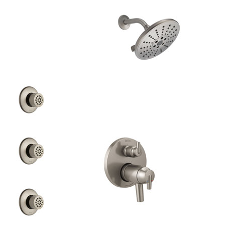 Delta Trinsic Dual Thermostatic Control Handle Stainless Steel Finish Shower System, Integrated Diverter, Showerhead, and 3 Body Sprays SS27T859SS8