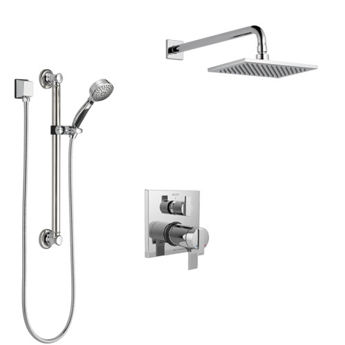 Delta Ara Chrome Finish Shower System with Dual Thermostatic Control Handle, Integrated Diverter, Showerhead, and Hand Shower with Grab Bar SS27T86710