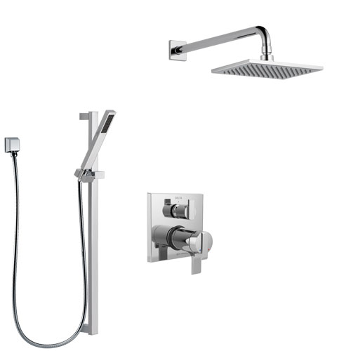 Delta Ara Chrome Finish Shower System with Dual Thermostatic Control Handle, Integrated Diverter, Showerhead, and Hand Shower with Slidebar SS27T86712