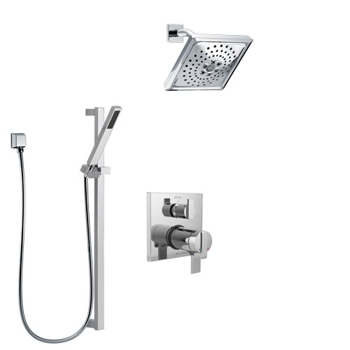 Delta Ara Chrome Finish Shower System with Dual Thermostatic Control Handle, Integrated Diverter, Showerhead, and Hand Shower with Slidebar SS27T8672