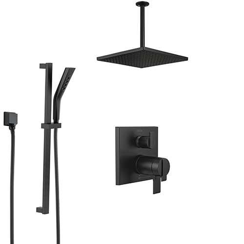 Delta Ara Matte Black Finish Shower System with Integrated Diverter Control, Ceiling Mount Rain Showerhead, and Hand Shower with Slidebar SS27T867BL2