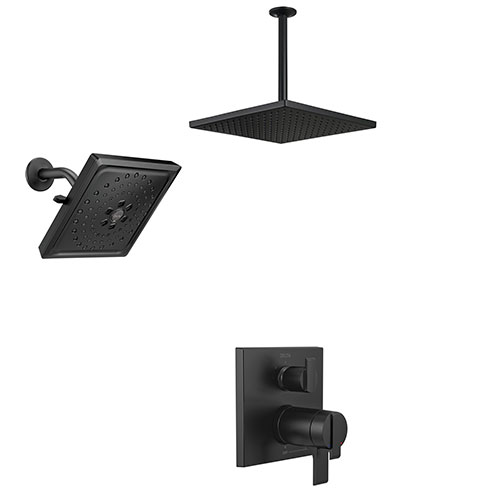 Delta Ara Matte Black Finish Integrated Diverter Shower System with Large Ceiling Mount Rain Showerhead and Multi-Setting Wall Showerhead SS27T867BL7