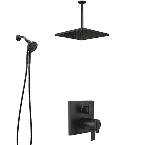 Delta Ara Matte Black Finish Integrated Diverter Shower System with Large Ceiling Rain Showerhead and Sure Dock Detachable Hand Shower SS27T867BL8