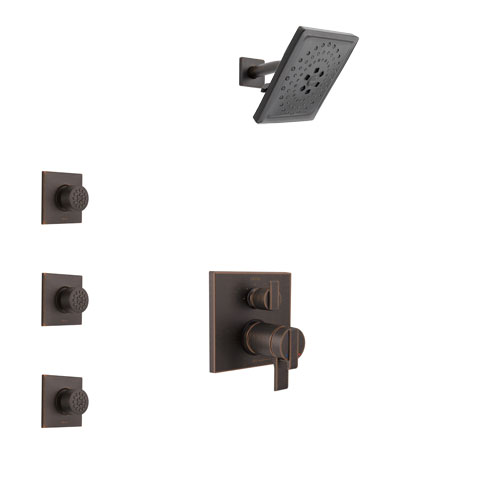 Delta Ara Venetian Bronze Shower System with Dual Thermostatic Control Handle, Integrated Diverter, Showerhead, and 3 Body Sprays SS27T867RB11