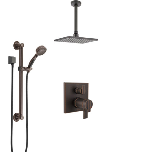 Delta Ara Venetian Bronze Integrated Diverter Shower System with Dual Thermostatic Control, Ceiling Showerhead, and Grab Bar Hand Shower SS27T867RB1