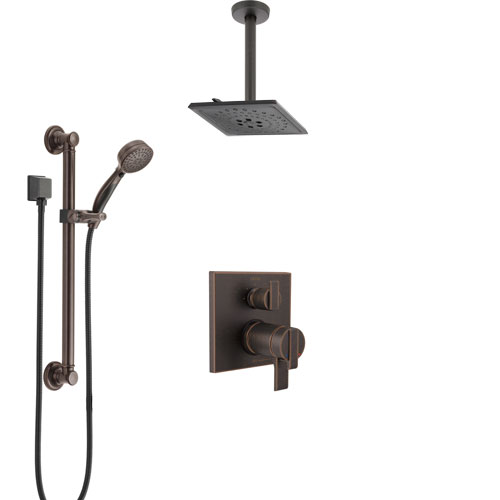 Delta Ara Venetian Bronze Integrated Diverter Shower System with Dual Thermostatic Control, Ceiling Showerhead, and Grab Bar Hand Shower SS27T867RB4