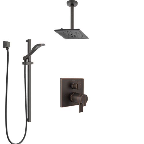 Delta Ara Venetian Bronze Integrated Diverter Shower System with Dual Thermostatic Control, Ceiling Mount Showerhead, and Hand Shower SS27T867RB5