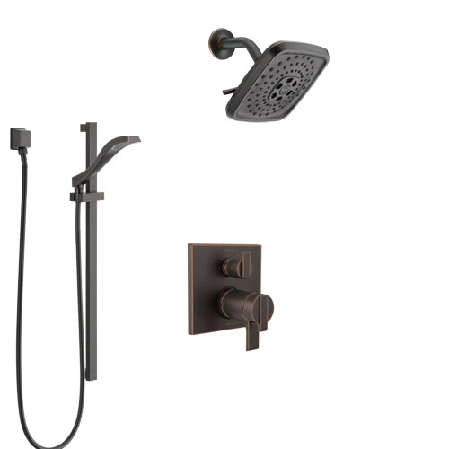 Delta Ara Venetian Bronze Shower System with Dual Thermostatic Control Handle, Integrated Diverter, Showerhead, and Hand Shower SS27T867RB6