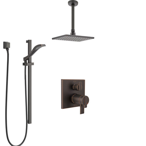 Delta Ara Venetian Bronze Integrated Diverter Shower System with Dual Thermostatic Control, Ceiling Mount Showerhead, and Hand Shower SS27T867RB8