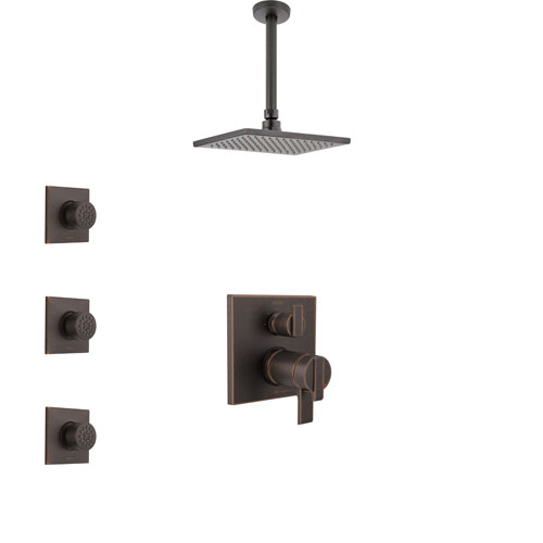 Delta Ara Venetian Bronze Integrated Diverter Shower System with Dual Thermostatic Control, Ceiling Mount Showerhead, and 3 Body Sprays SS27T867RB9