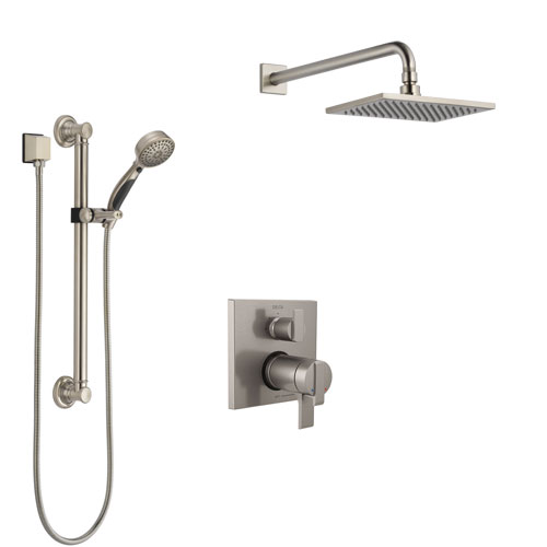 Delta Ara Dual Thermostatic Control Stainless Steel Finish Integrated Diverter Shower System, Showerhead, and Hand Shower with Grab Bar SS27T867SS1