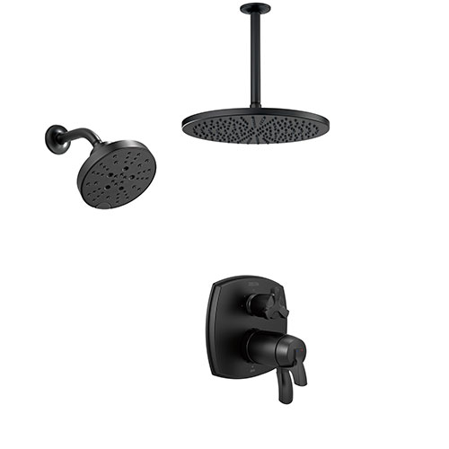Delta Stryke Matte Black Finish Integrated Diverter Shower System with Large Rain Ceiling Showerhead and Multi-Setting Wall Showerhead SS27T876BLX7