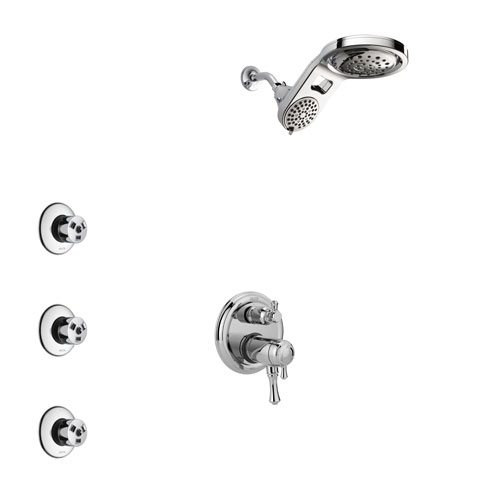 Delta Cassidy Chrome Finish Shower System with Dual Thermostatic Control Handle, Integrated Diverter, Dual Showerhead, and 3 Body Sprays SS27T8973