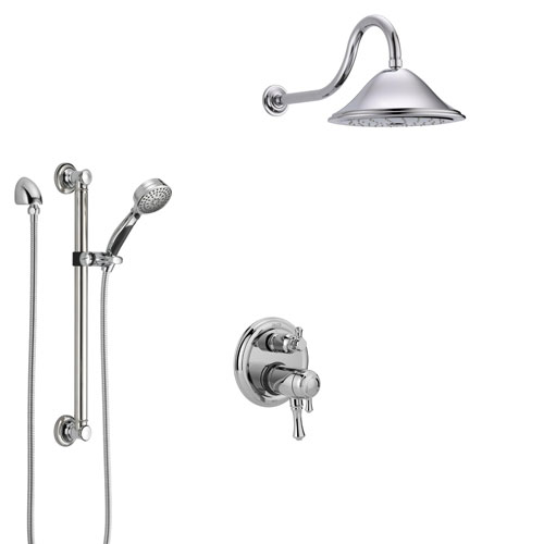 Delta Cassidy Chrome Shower System with Dual Thermostatic Control Handle, Integrated Diverter, Showerhead, and Hand Shower with Grab Bar SS27T8977