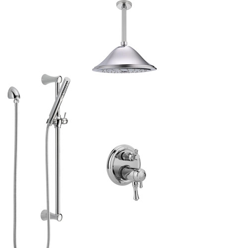 Delta Cassidy Chrome Shower System with Dual Thermostatic Control Handle, Integrated Diverter, Ceiling Mount Showerhead, and Hand Shower SS27T8979