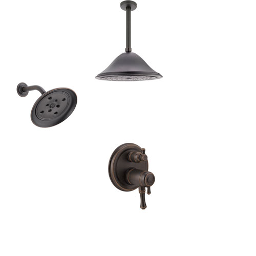 Delta Cassidy Venetian Bronze Integrated Diverter Shower System with Dual Thermostatic Control, Showerhead, and Ceiling Mount Showerhead SS27T897RB2