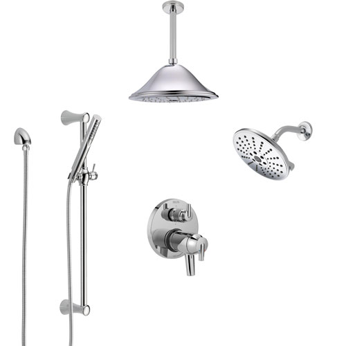 Delta Trinsic Chrome Shower System with Dual Thermostatic Control, Integrated Diverter, Showerhead, Ceiling Showerhead, and Hand Shower SS27T9595