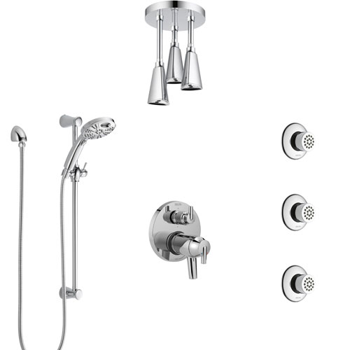 Delta Trinsic Chrome Dual Thermostatic Control Shower System, Integrated Diverter, Ceiling Showerhead, 3 Body Sprays, and Temp2O Hand Shower SS27T9597