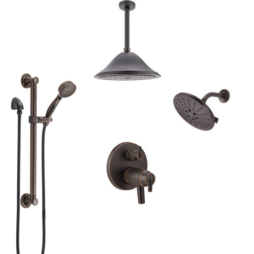 Delta Trinsic Venetian Bronze Dual Thermostatic Control Shower System, Showerhead, Ceiling Showerhead, Grab Bar Hand Spray SS27T959RB11