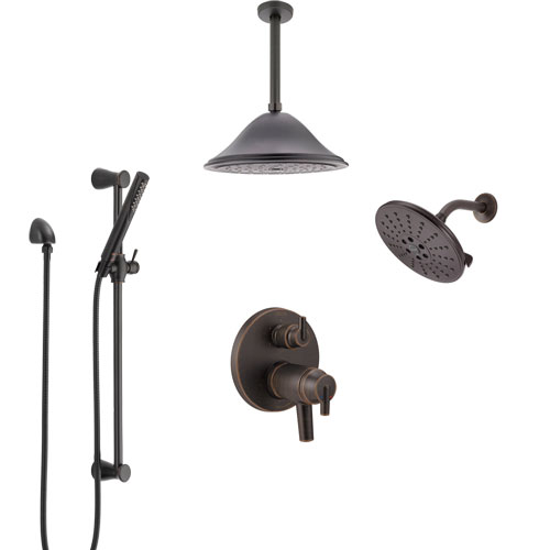 Delta Trinsic Venetian Bronze Dual Thermostatic Control Integrated Diverter Shower System, Showerhead, Ceiling Showerhead, and Hand Spray SS27T959RB12