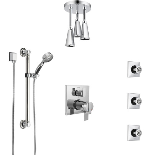 Delta Ara Chrome Dual Thermostatic Control Integrated Diverter Shower System, Ceiling Showerhead, 3 Body Sprays, and Grab Bar Hand Shower SS27T9674