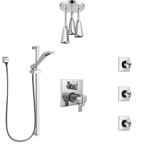 Delta Ara Chrome Shower System with Dual Thermostatic Control, Integrated Diverter, Ceiling Mount Showerhead, 3 Body Sprays, and Hand Shower SS27T9676