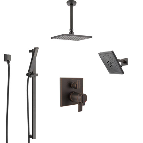 Delta Ara Venetian Bronze Dual Thermostatic Control Integrated Diverter Shower System, Showerhead, Ceiling Showerhead, and Hand Shower SS27T967RB10