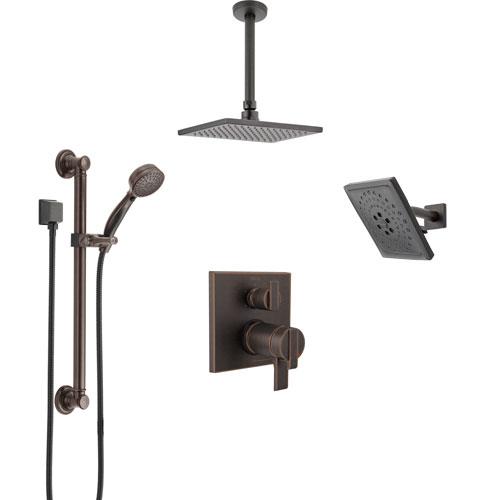 Delta Ara Venetian Bronze Dual Thermostatic Control Shower System, Showerhead, Ceiling Showerhead, Grab Bar Hand Spray SS27T967RB11