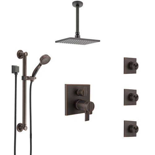 Delta Ara Venetian Bronze Dual Thermostatic Control Shower System, Ceiling Showerhead, 3 Body Jets, Grab Bar Hand Spray SS27T967RB3