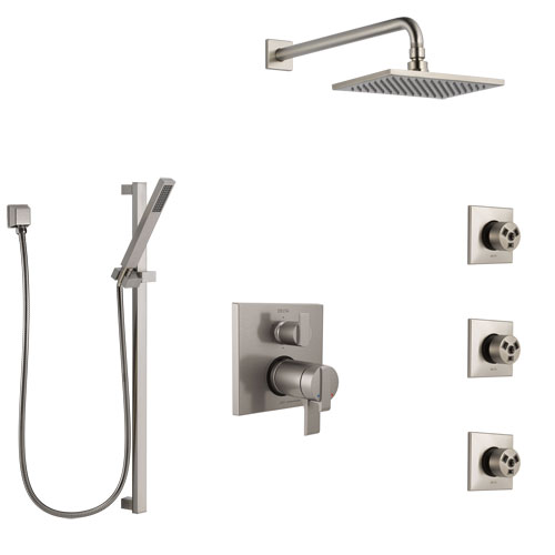 Delta Ara Dual Thermostatic Control Stainless Steel Finish Shower System, Integrated Diverter, Showerhead, 3 Body Sprays, and Hand Shower SS27T967SS11