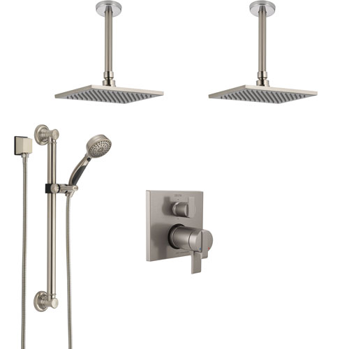 Delta Ara Dual Thermostatic Control Stainless Steel Finish Shower System, 2 Ceiling Mount Showerheads, Grab Bar Hand Spray SS27T967SS1