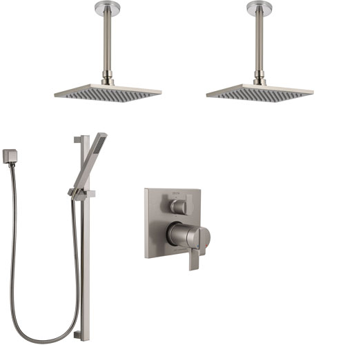Delta Ara Dual Thermostatic Control Stainless Steel Finish Shower System, Integrated Diverter, 2 Ceiling Showerheads, and Hand Shower SS27T967SS2