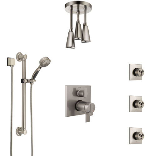 Delta Ara Dual Thermostatic Control Stainless Steel Finish Shower System, Ceiling Showerhead, 3 Body Jets, Grab Bar Hand Spray SS27T967SS7