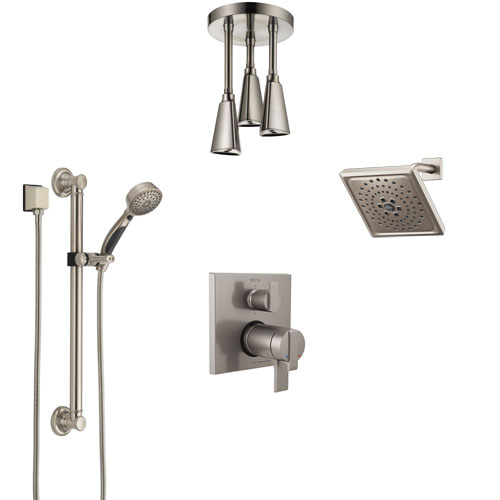 Delta Ara Dual Thermostatic Control Stainless Steel Finish Shower System, Showerhead, Ceiling Showerhead, Grab Bar Hand Spray SS27T967SS8