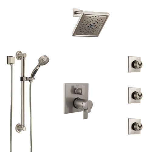 Delta Ara Dual Thermostatic Control Stainless Steel Finish Integrated Diverter Shower System, Showerhead, 3 Body Jets, Grab Bar Hand Spray SS27T967SS9