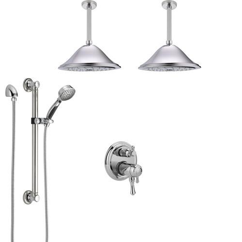 Delta Cassidy Chrome Dual Thermostatic Control Shower System, 2 Ceiling Mount Showerheads, Grab Bar Hand Spray SS27T9975