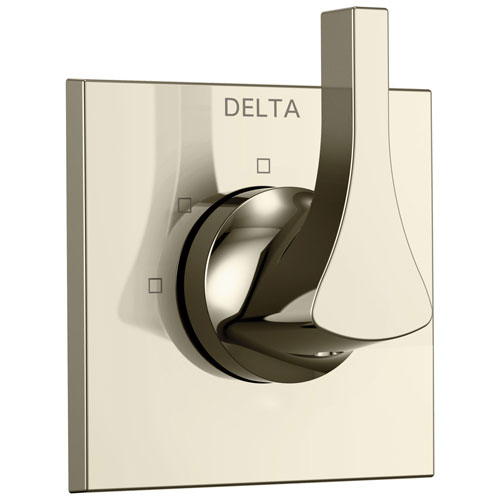 Delta Zura Collection Polished Nickel Finish Modern 3-Setting 2-Port Single Handle Shower Diverter Includes Rough-in Valve D2057V