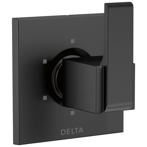Delta Ara Collection Matte Black Finish Modern Square Lever Handle 6-Setting 3-Port Shower Diverter Includes Rough-in Valve D2548V
