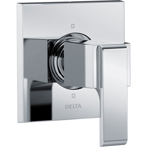 Delta Ara Modern Square Chrome Finish Single Handle 6-Setting 3-Port Shower Diverter Fixture INCLUDES Rough-in Valve D1287V