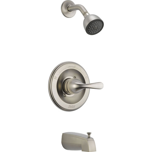 Delta Stainless Steel Finish Tub and Shower Combination Faucet with Valve D284V