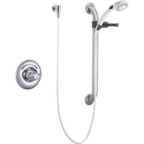Delta Core Chrome Shower with Handheld Spray and Grab Bar Includes Valve D972V