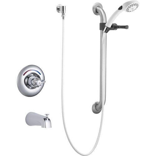 Delta Core Chrome Universal Tub Only Trim w/ Handheld Shower & Grab Bar 147765