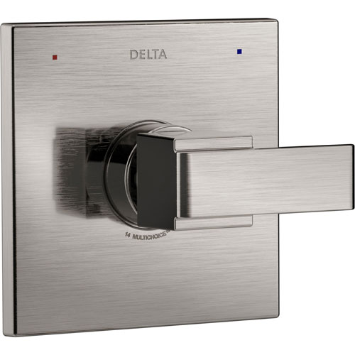 Delta Ara Modern Monitor 14 Series Stainless Steel Finish Square Single Handle Pressure Balanced Shower Faucet Control INCLUDES Rough-in Valve D1252V