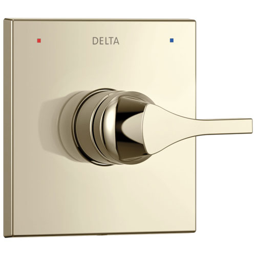 Delta Zura Collection Polished Nickel Monitor 14 Series Single Handle Square Shower Faucet Control Handle Includes Rough-in Valve without Stops D2040V